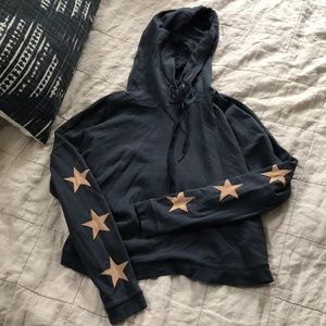 Navy hooded sweatshirt with sueded stars by Rails